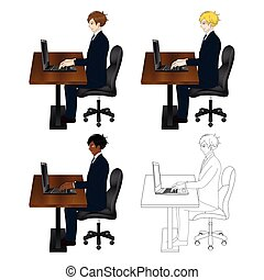 ensemble, business, séance, laptop., beau, homme