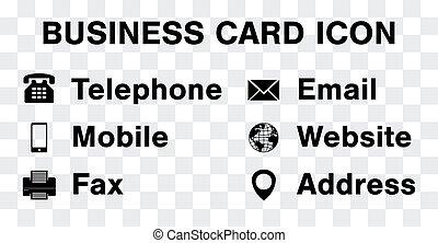 ensemble, business, vecteur, noir, namecard, icône