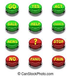 ensemble, button., 3d