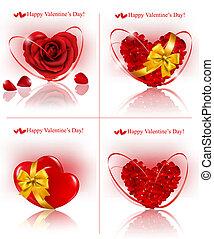 ensemble, cadeau, banners., rose, petite amie, pétales, vecteur, illustration, ribbons., cœurs, fait, jour, rouges