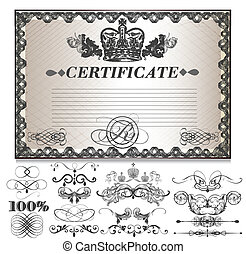ensemble, cadeau, decorati, certificat