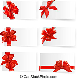 ensemble, cadeau, grand, arcs, vector., ribbons., rouges