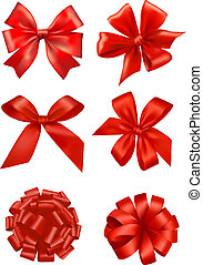 ensemble, cadeau, grand, arcs, vector., ribbons., rouges