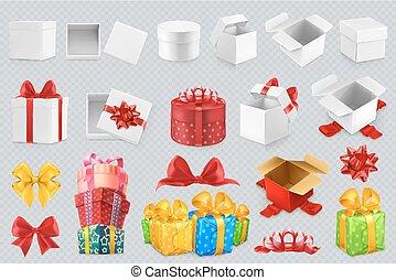 ensemble, cadeau, icônes, bows., boîtes, vecteur, 3d