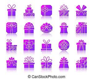 ensemble, cadeau, icônes, simple, gradient, vecteur
