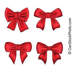 ensemble, cadeau, isolé, arcs, fond, blanc rouge