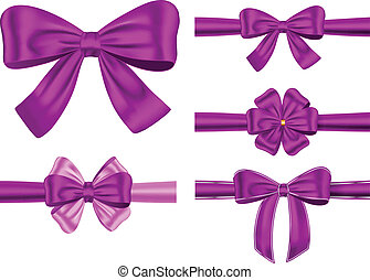 ensemble, cadeau, ruban, violet