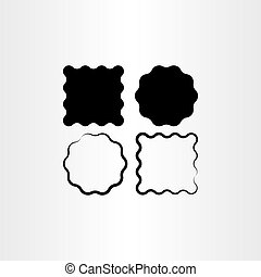 ensemble, cadre, étiquette, vecteur, arrière-plan noir