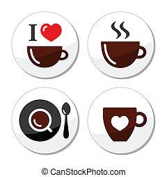 ensemble, café, amour, étiquettes