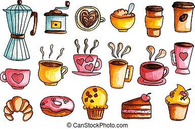 ensemble café, aquarelle, main, illustrations, dessiné
