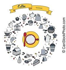 ensemble café, coloré, griffonnage, main, symboles, thème, vecteur, objets, temps, dessiné, dessin animé