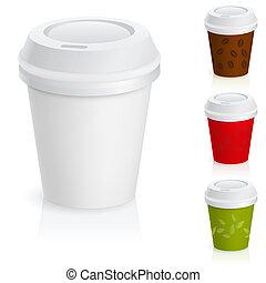 ensemble café, cups., plat à emporter