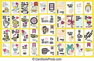 ensemble café, escompte, conception, gabarit, ton, cartes.