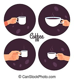 ensemble café, icônes, vecteur, tenant mains, tasses