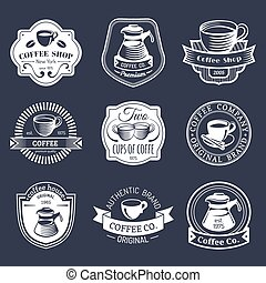 ensemble café, logos., magasin, restaurant, collection., moderne, icônes, emblèmes, vecteur, hipster, vendange, café