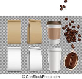 ensemble café, paquet, mugs., isolé, papier, arrière-plan., maquette, haricots, vide, transparent