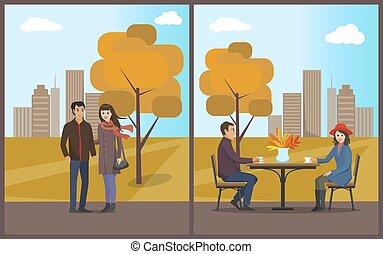 ensemble café, parc, automne, dîner, vecteur, café