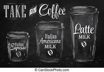 ensemble café, raster., chalk.