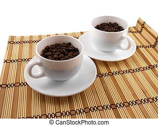 ensemble café, tasse, sommet, table, bambou, vue
