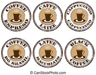ensemble, café, timbres