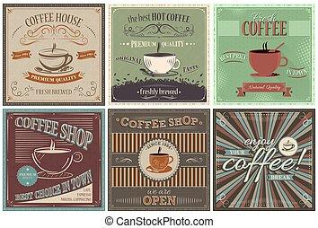 ensemble café, vecteur, retro, fond, design.