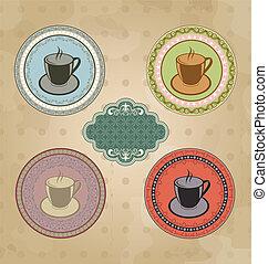 ensemble café, vendange, étiquettes, ornement, éléments, retro