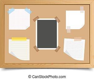 ensemble, cahier, morceaux, comité papier, fond, blanc