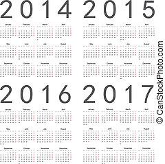 ensemble, calendars., carrée, 2016, année, 2017, 2015, 2014, européen
