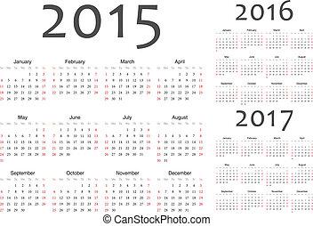 ensemble, calendriers, vecteur, 2016, année, 2017, 2015, européen