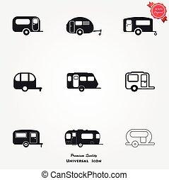 ensemble, camping, caravane