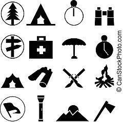 ensemble, camping, icônes