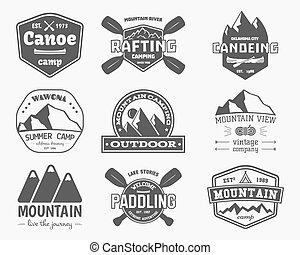 ensemble, canoë-kayac, étiquettes, extérieur, monochrome, montagne, design., toile, vendange, magazines, mieux, logo, pagayer, kayaking, theme., sites, aventure, badges., camp, app., vecteur, activité, élégant