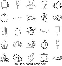 ensemble, cantine,  Style, contour, icônes