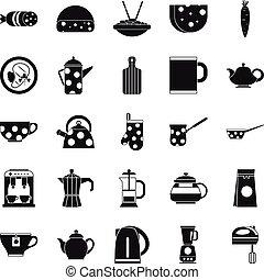 ensemble, cantine,  Style,  simple, icônes