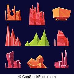 ensemble, canyons, rochers, vecteur, jeux, pierres