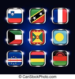 ensemble, cap, frontière, palaos, scintillement, ), (, france, boutons, saint, malawi, nevis, kitts, verre, verde, mondiale, acier, slovénie, quadrangulaire, île maurice, drapeaux, koweït, grenade