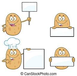 ensemble, caractère, 3., collection, pomme terre