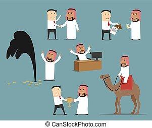ensemble, caractère, arabe, saoudien, homme affaires, dessin animé