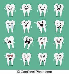 ensemble, caractère, dent, emoji