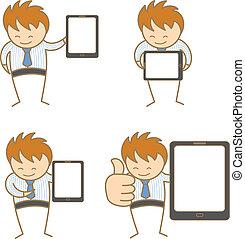 ensemble, caractère, dessin animé, tablette, homme