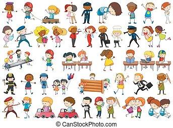 ensemble, caractère, enfants