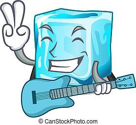 ensemble, caractère, glace, guitare, cubes, wiht