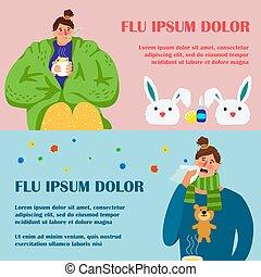 ensemble, caractère, grippe, dessin animé, conception, bannières, girl