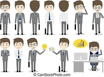 ensemble, caractère, illustration, vecteur, conception, fond, homme affaires, blanc, dessin animé