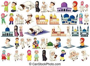 ensemble, caractère, musulman