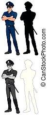 ensemble, caractère, policier