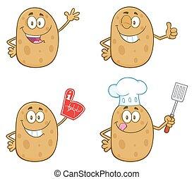 ensemble, caractère, pomme terre, collection, 1.
