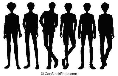 ensemble, caractère, silhouette, mâle