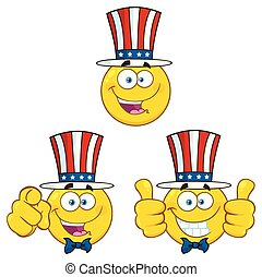ensemble, caractère, type caractère jaune, 1, patriotique, dessin animé, emoji