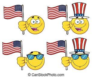 ensemble, caractère, type caractère jaune, vecteur, collection, patriotique, emoji, dessin animé, 3.